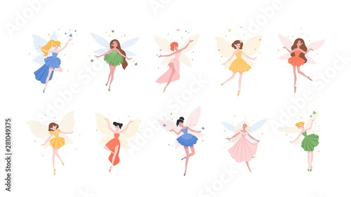 Bundle of funny gorgeous fairies in different dresses isolated on white background Fototapeta