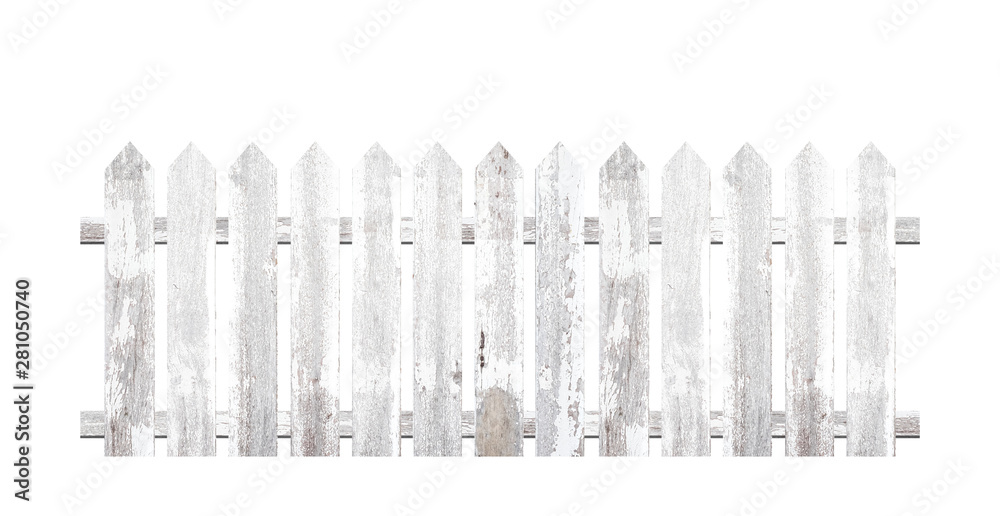 Fototapeta White wooden fence isolated on a white background that separates the objects. There are Clipping Paths for the designs and decoration