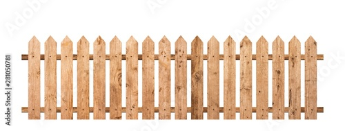 Photo Brown wooden fence isolated on a white background that separates the objects