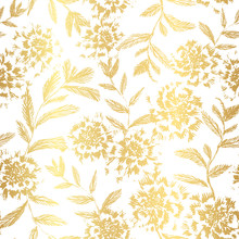 Vector Golden Floral Seamless Pattern. Shiny Elegant Repeat With Hand Drawn Flowers And Leaves Great For Wedding Design Or Christmas Wrapping.