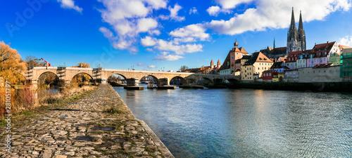 Photo  Landmarks of Germany - beautiful medieval town Regensburg in Bavaria