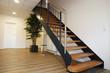 Leinwandbild Motiv Moderne neue Holztreppe innen