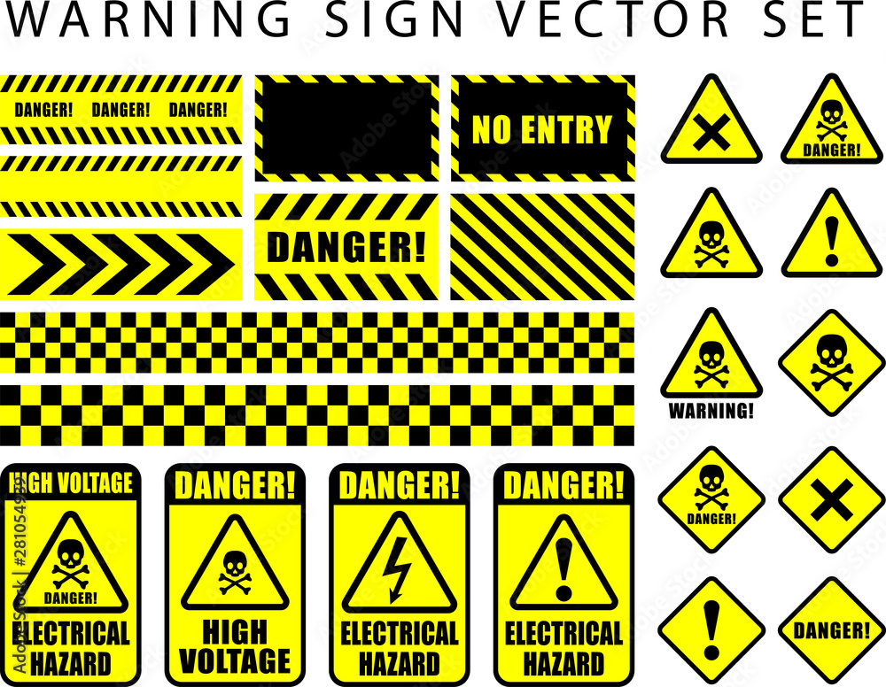 Fototapeta warning danger sign set, skull icon, electrical hazard, high voltage text on rectangle and triangle frame yellow and black color background
