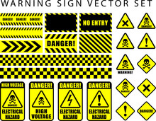 Warning Danger Sign Set, Skull...