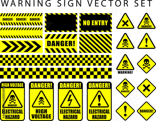 warning danger sign set, skull icon, electrical hazard, high voltage text on rectangle and triangle frame yellow and black color background Wall mural