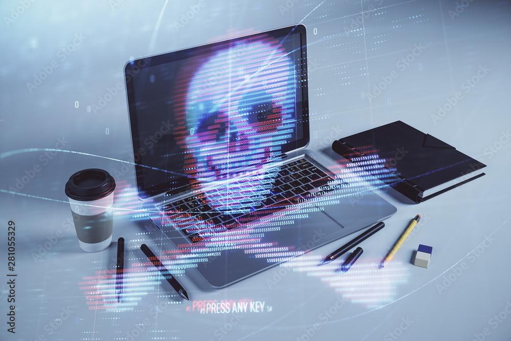 Fototapeta Hacking theme hologram with desktop office background. Double exposure.