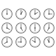 Set Of Wall Clocks For Every Hour