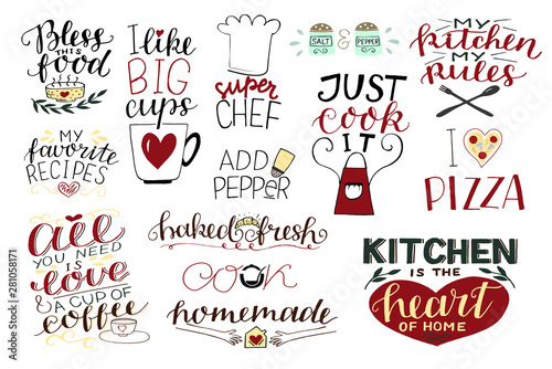 Photo 14 hand-lettering quotes about food, coffee, tea, kitchen Homemade