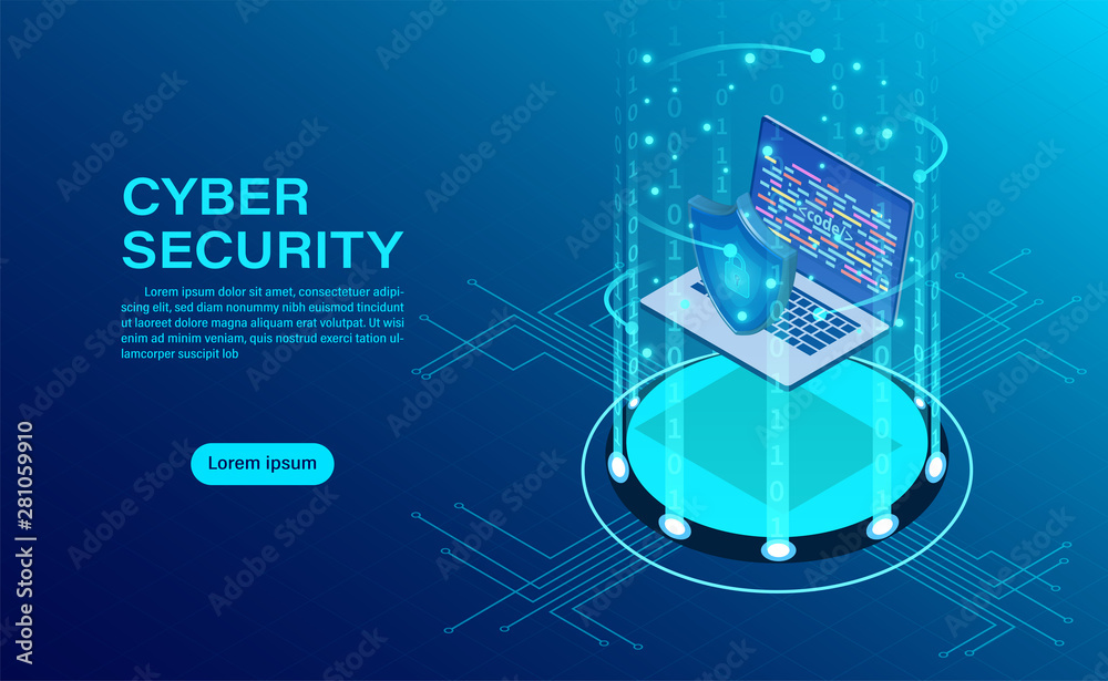 Fototapety, obrazy: Cyber security concept banner with businessman protect data and confidentiality and data privacy protection concept with icon of a shield and lock. flat isometric vector illustration