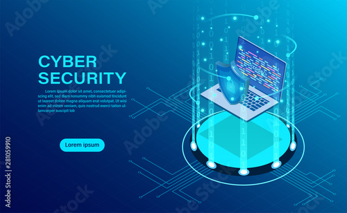 Cyber security concept banner with businessman protect data and confidentiality and data privacy protection concept with icon of a shield and lock Canvas Print