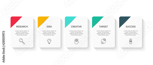Cuadros en Lienzo Creative concept for infographic with 5 steps, options, parts or processes