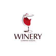 Elegant Red Wine Glass Logo Te...
