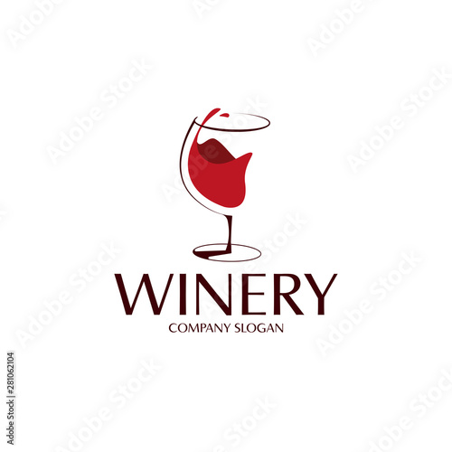 elegant red wine glass logo template