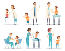 Kids Vaccinating. Doctor Gives...