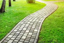 Slab Stone Paved Path Way Alon...