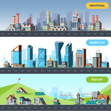 Town Flat. Ecology Industrial Smart City Architectural Objects Different Buildings Factory Vector Horizontal Illustrations. Skyline Smart Town, Skyscraper Building Economic