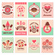 Candy shop cards. Sweet food desserts confectionary symbols for restaurant menu vector flyer collection. Confectionery banner shop, candy dessert, sweet caramel illustration
