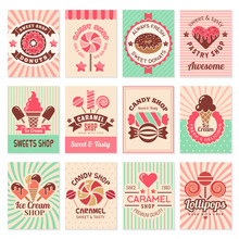 Candy Shop Cards. Sweet Food D...