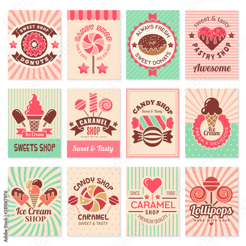 Candy shop cards. Sweet food desserts confectionary symbols for restaurant menu vector flyer collection. Confectionery banner shop, candy dessert, sweet caramel illustration