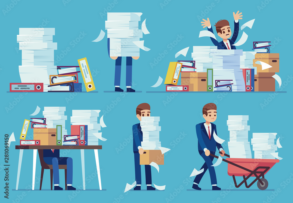 Fototapeta Unorganized office work. Accounting paper documents piles, disarray in files on accountant table. Routine paperwork vector concept