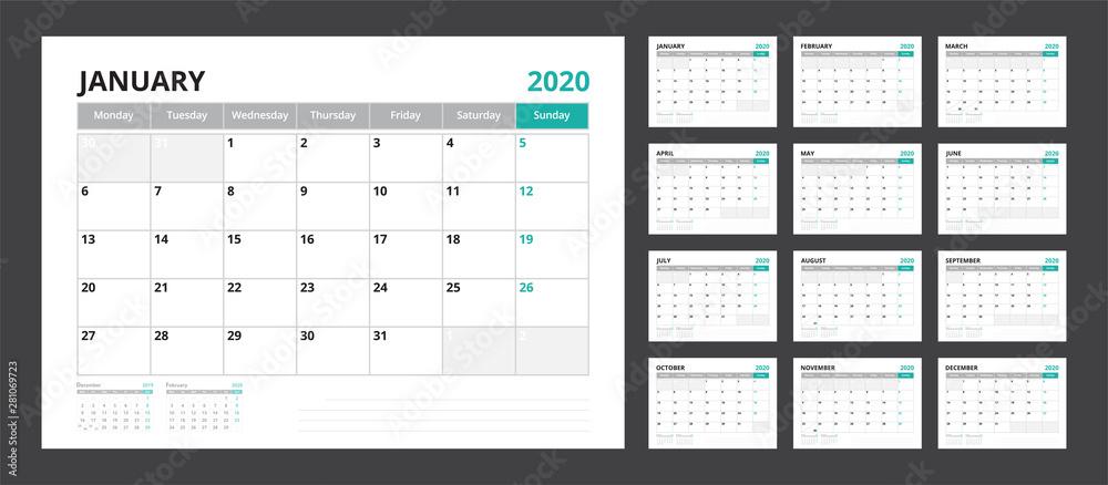 Fototapeta 2020 calendar planner set for template corporate design week start on Monday.