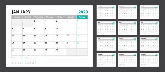 2020 calendar planner set for template corporate design week start on Monday.