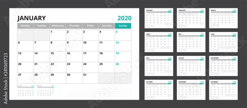 Fototapeta 2020 calendar planner set for template corporate design week start on Monday. obraz