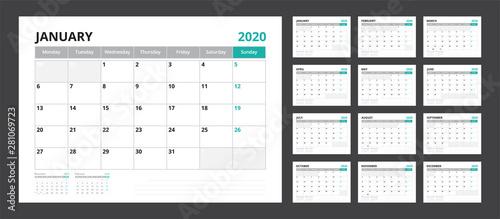 Obraz 2020 calendar planner set for template corporate design week start on Monday. - fototapety do salonu