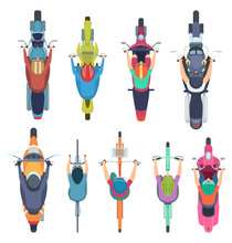Bicycle Top View. People Driving Bike In Helmet Riders Moped And Cycle Road Traffic Vector Illustrations. Motorcycle And Moped, Motorcyclist Traffic, Scooter And Motorbike