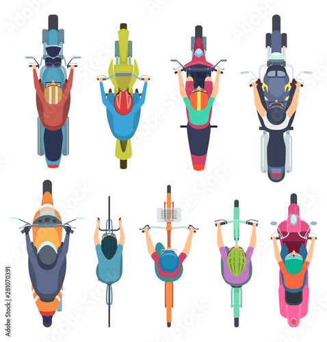 bicycle top view people driving bike in helmet riders moped and cycle road traffic vector illustrations motorcycle and moped motorcyclist traffic scooter and motorbike buy this stock vector and explore similar driving bike in helmet riders moped