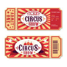 Circus Tickets. Magic Show Entrance Vintage Paper Ticket, Festival Entertaining Event Coupons. Birthday Party Card Vector Template
