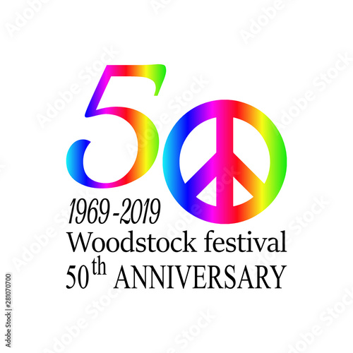 Fotomural  50th anniversary of the Woodstock music festival on August 15 1969