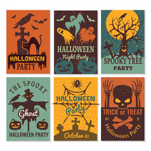Halloween Cards. Greeting Cards Invitation To Horror Scary Evil Halloween Party Vector Design Template. Halloween Scary And Horror Illustration
