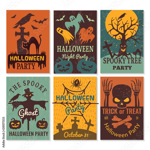 Fototapeta Halloween Cards Greeting Cards Invitation To Horror Scary Evil Halloween Party Vector Design Template Halloween Scary And Horror