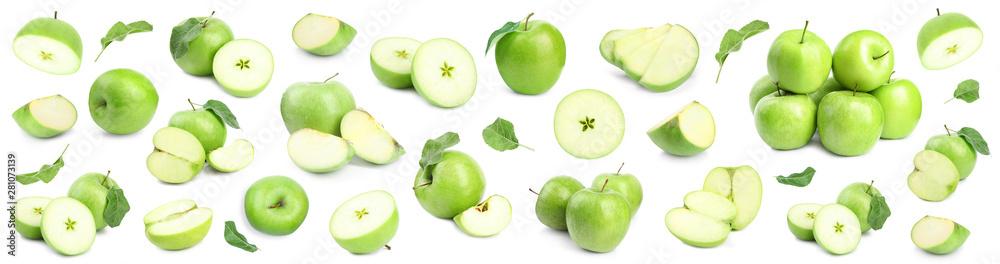 Fototapeta Fresh ripe green apple on white background