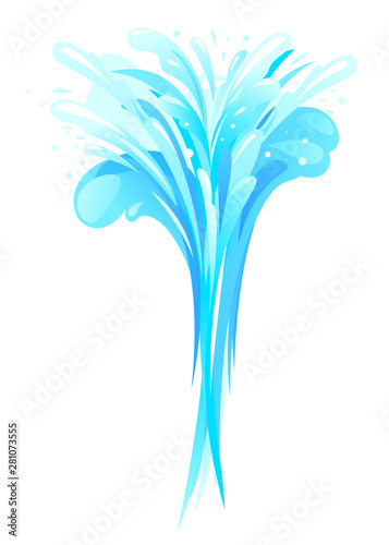 Water splashes in form of bouquet, fountain of vertical water pressures with pla Wallpaper Mural