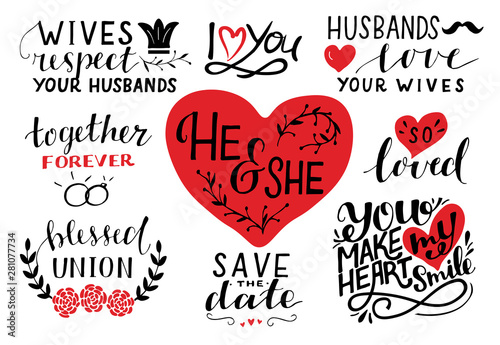Set of 9 hand lettering quotes about he and she. Save the ...