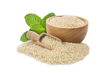 White Sesame Seeds In Wooden Bowl And Spoon Isolated On White Background.Organic Natural Sesame Seeds And Extract Oil Concept