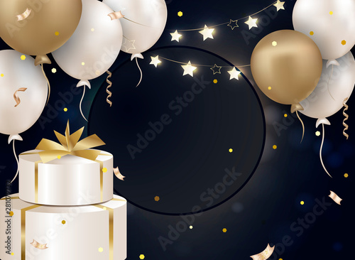 Happy birthday background  Balloons with gift, confettis