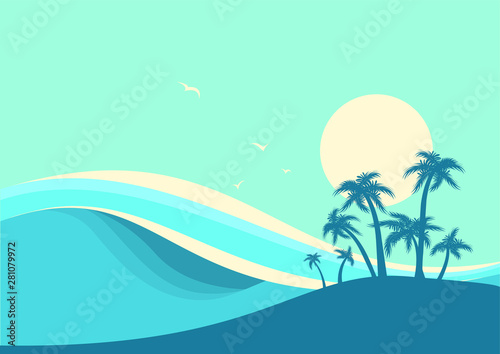 Montage in der Fensternische Reef grun Big ocean waves and tropic palms .Vector seascape poster illustration with sky background for text