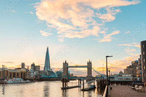 London view at sunset with Tower Bridge and modern buildings Wallpaper Mural