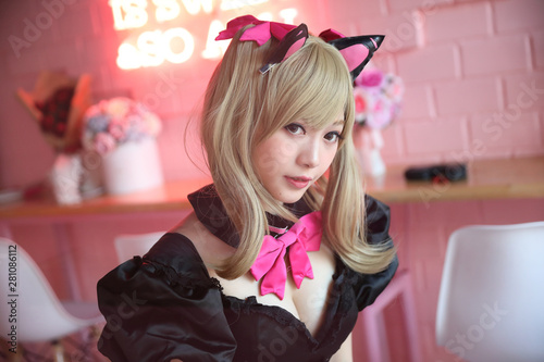 Japan anime cosplay , portrait of girl cosplay in pink room background Wallpaper Mural