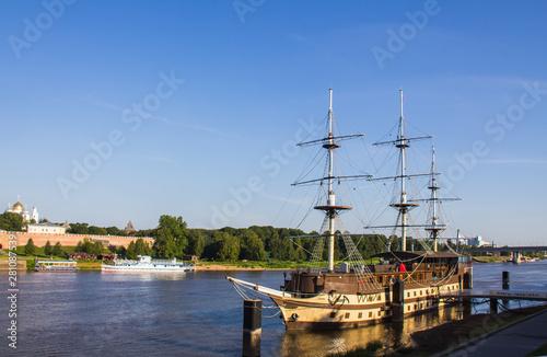 Fényképezés Old brig laid up near Novgorod Kremlin
