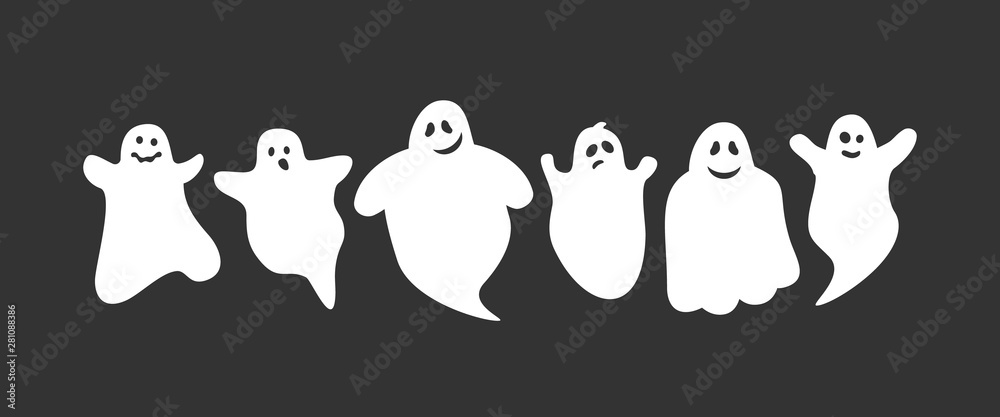 Fototapeta cute cartoon ghosts set on black background