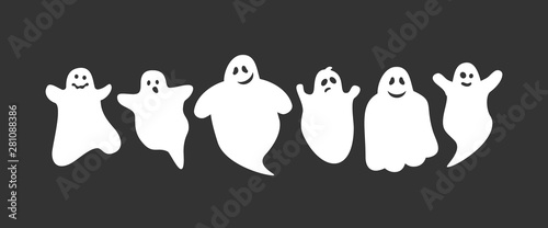 cute cartoon ghosts set on black background Wallpaper Mural