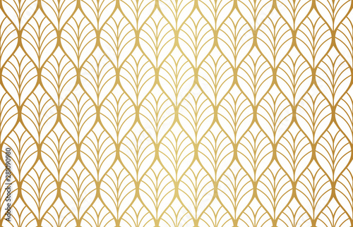 Foto auf Leinwand Künstlich Geometric floral vector seamless pattern. Abstract vector texture. Art Deco Leaves background.