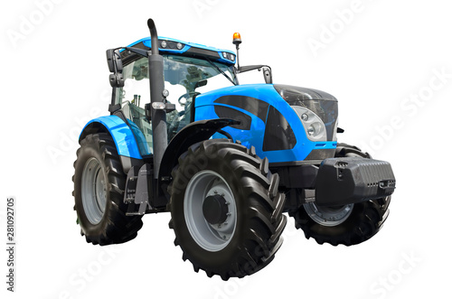 Big blue agricultural tractor isolated on a white background