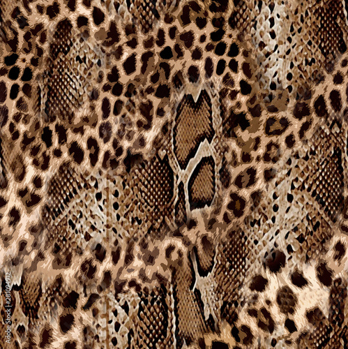 Seamless leopard and snake skin pattern design Tableau sur Toile