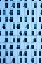 Blue Paneled Wall With Windows