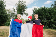 Little Boys With French Flag Before World Cup Soccer / Football Game